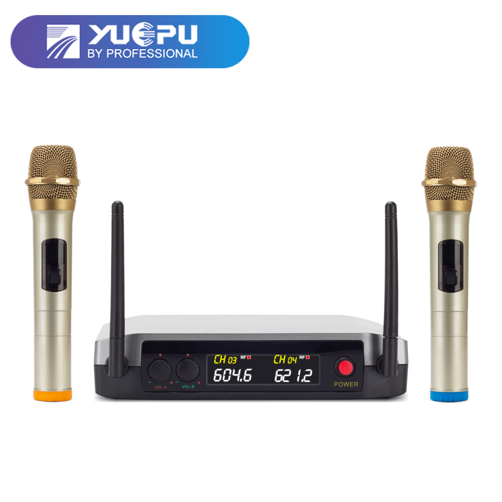 YUEPU RU-U220 UHF Handheld Karaoke Microphone Wireless Professional System 2 Channel Fixed Frequency Metal Cordless For Church boya by whm8 professional 48 uhf microphone dual channels wireless handheld mic system lcd display for karaoke party liveshow