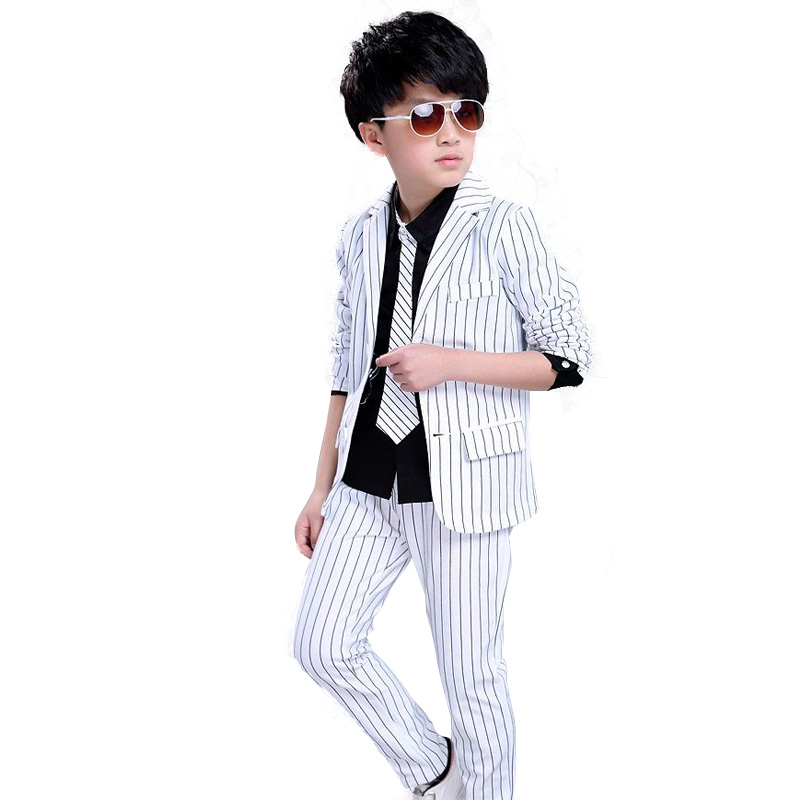 2Pieces Striped Jacket+Pants Kids Teens Clothes Boys Set Gentleman Formal Boys Clothing Sets Autumn 2017 Children's Suit