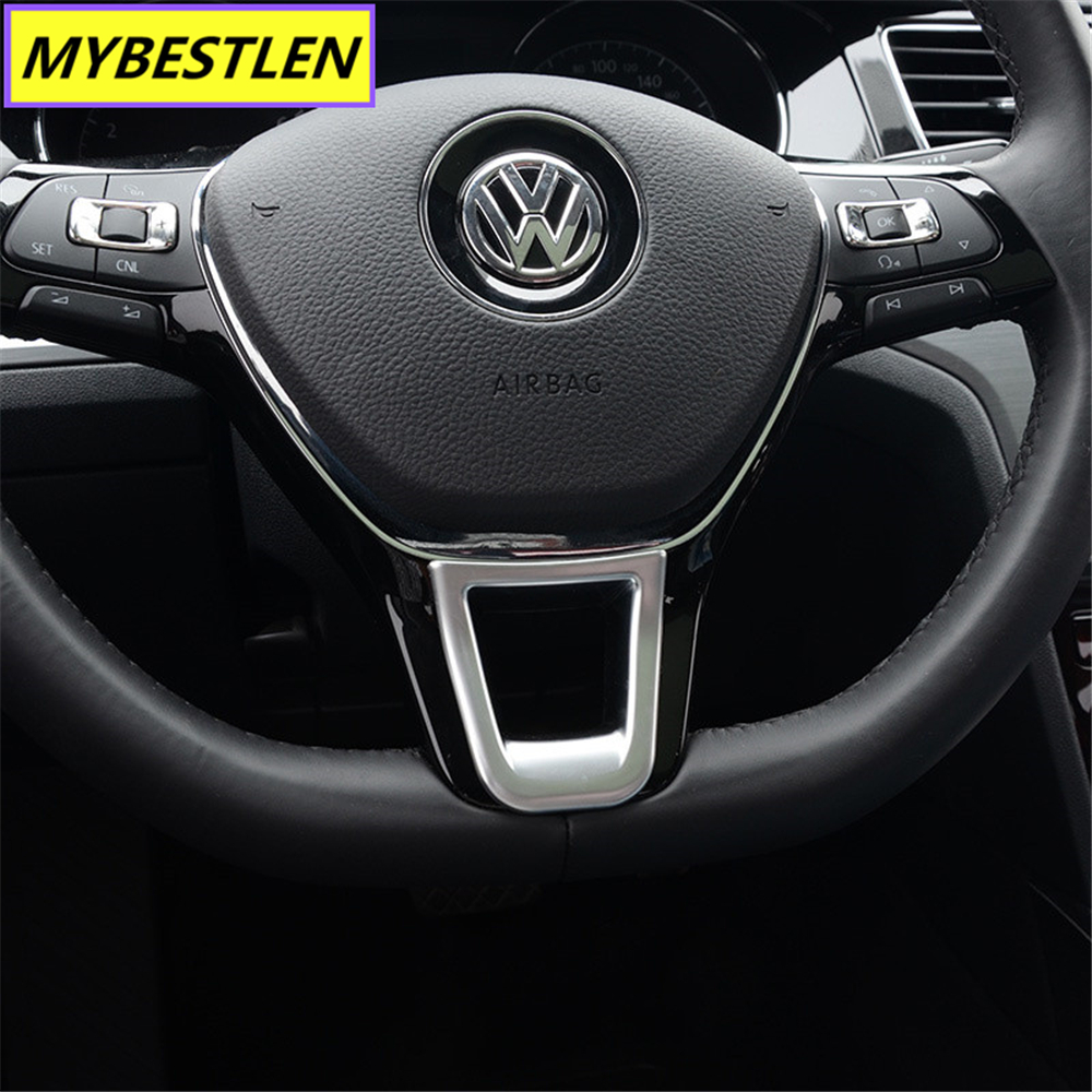 New ABS Car Steering Wheel Interior Sticker For VW Volkswagen Golf 7 POLO Santana Jetta Bora Sagitar Lavida Car Syling
