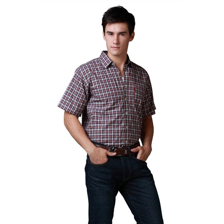 Shirt Men Shirt Brand Casual Shirt Plus Chest Basic Short Sleeve 100%Cotton Plaid Shirt Best Quality Size S M L XL XXL 4Colors