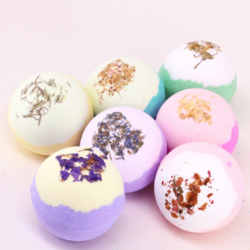 1PC Two-color  Dry Flower  Deep Sea Salt Bubble Bath Pump Ball Natural Oil Body Clean Skin Smooth