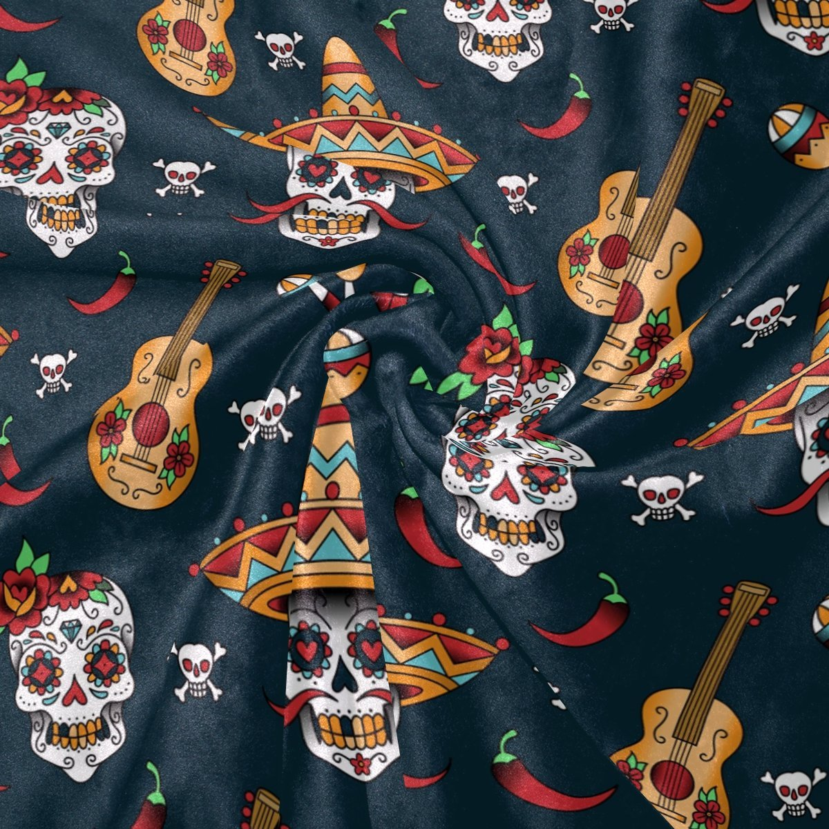 Halloween Mexican Floral Sugar Skull Guitar Music Blanket Soft Warm Cozy Bed Couch Lightweight Polyester Microfiber Blanket in Blankets from Home Garden