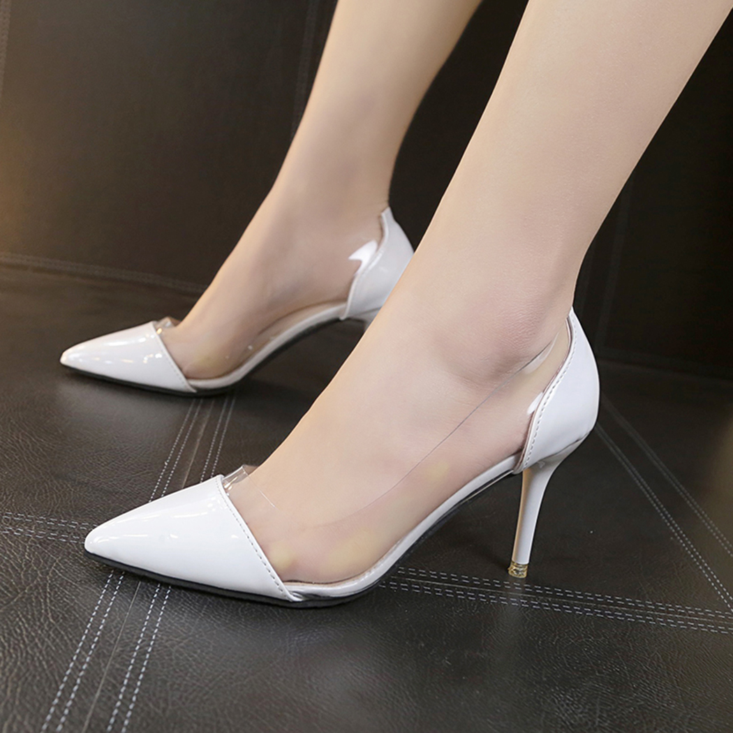 Pumps Transparent 125cm High Heels Sexy Pointed Toe Slip