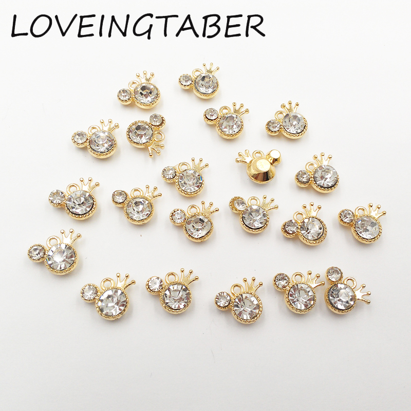 Wholesale 14mm 11mm 30pcs lot Minnie with Crown Rhinestone Small Charms  Pendants Jewelry Making a27f76b296cd