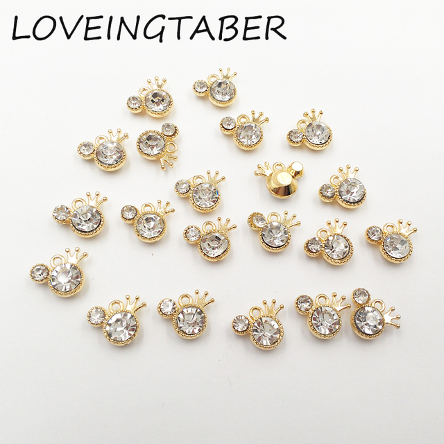Wholesale 14mm11mm 30pcslot minnie with crown rhinestone small wholesale 14mm11mm 30pcslot minnie with crown rhinestone small charms pendants jewelry making aloadofball Gallery