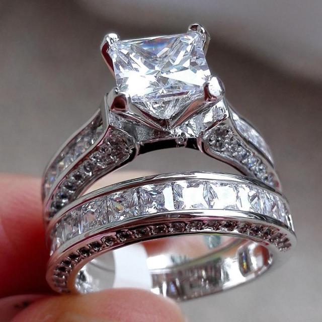 2-trong-1 Womens Nhẫn Cổ Điển Màu Trắng Aneis Bạc Engagement Wedding Nhạc Chuông Đặt Phụ Kiện Trang Sức Rhinestone Vòng đồ trang trí