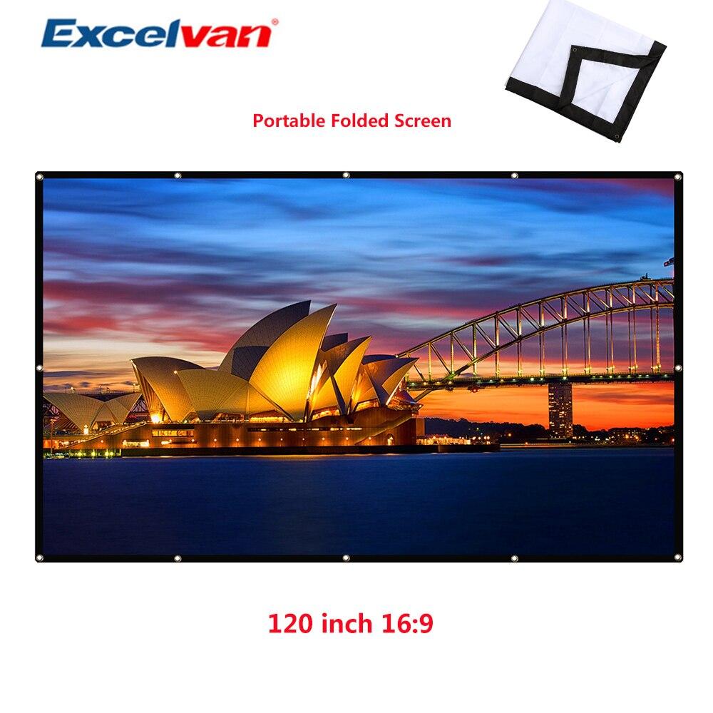 Excelvan 120 pouces Simple plié écran de Projection Wrap tissu enrouler 16:9 écran en tissu avec trou pour projecteur Home cinéma