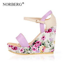 цены NORBERG 2019  new summer  fashion sex  wedge sandals floral high heel platform  sandals   Waterproof platform height 3-5 cm