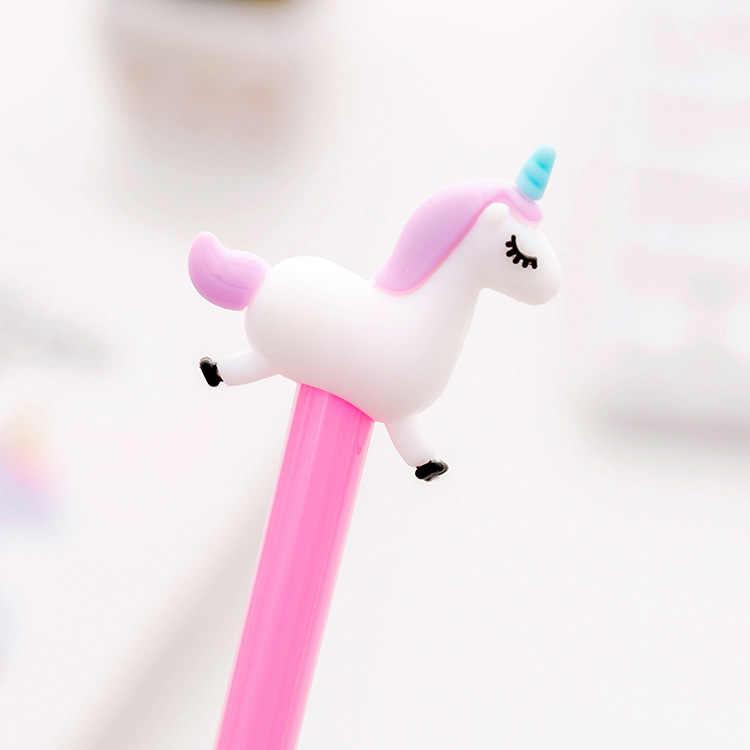 חמוד cartoon קפיצות unicorn עט ניטראלי יצירתי תלמידי בדיקה שחור מים חתימת ג 'ל עט משרד מכתבים