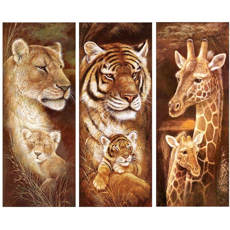 Животное, бриллиант, вышивка 5D DIY бриллиантовый рисунок Рождество Тигр и Жираф вышивка крестом полный горный хрусталь мозаика