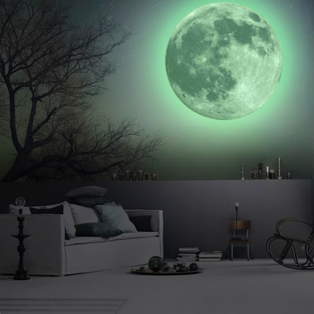 Glow In The Dark Wall Murals 2017 peel and stick huge moonlight sticker glow in the dark