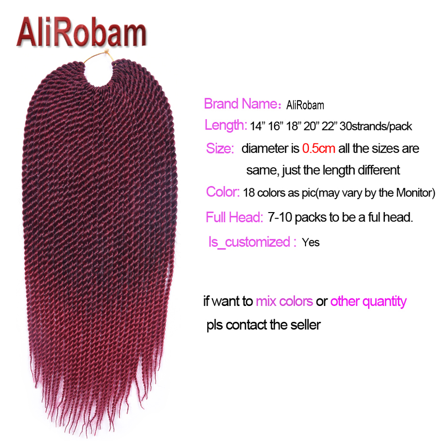 AliRobam Crochet Braid Ombre Kanekalon Braiding Hair 30Roots Havana Mambo Twist Crochet Box Braids Crochet Hair Extensions