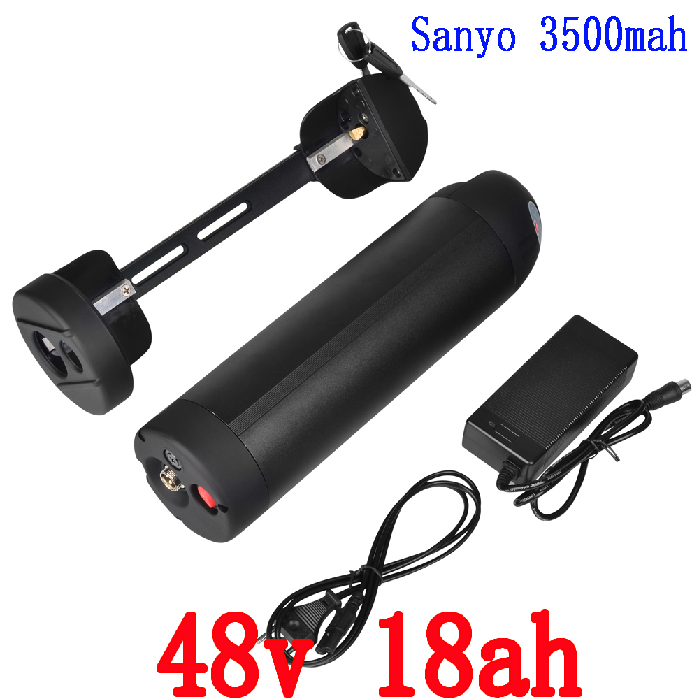 Free customs tax 48V 18Ah for SANYO cell  bottle lithium battery electronic bicycle battery with fit BBS02 750W bafang motor free customs taxes super power 1000w 48v li ion battery pack with 30a bms 48v 15ah lithium battery pack for panasonic cell