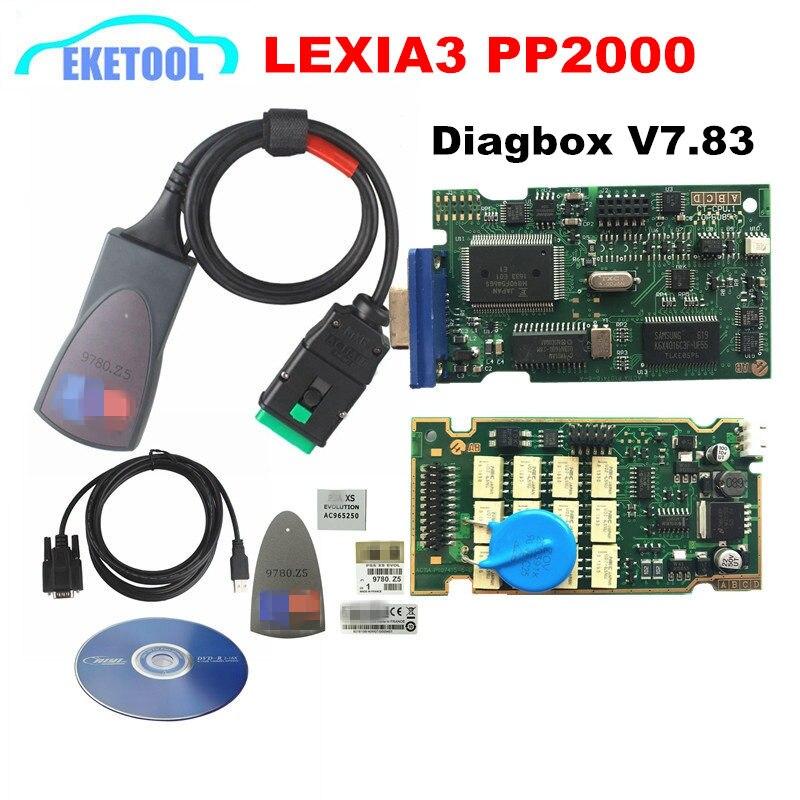 Professionelle Lite Lexia3 PP2000 Diagbox V7.83 PSA XS Evolution Für Citroen/Für Peugeot LEXIA-3 FW 921815C Lexia 3 Normalen chip