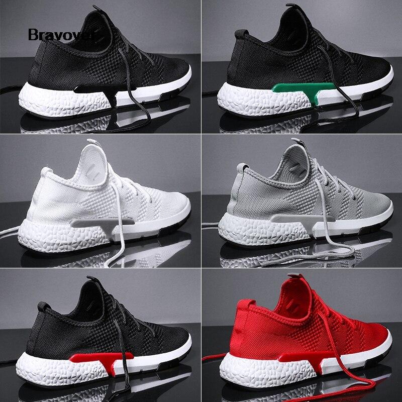 Bravover חדש לנשימה חיצוני ריצה נעלי תחרה עד Mens רשת נעל נוח אור צבעוני סניקרס שישה צבעים