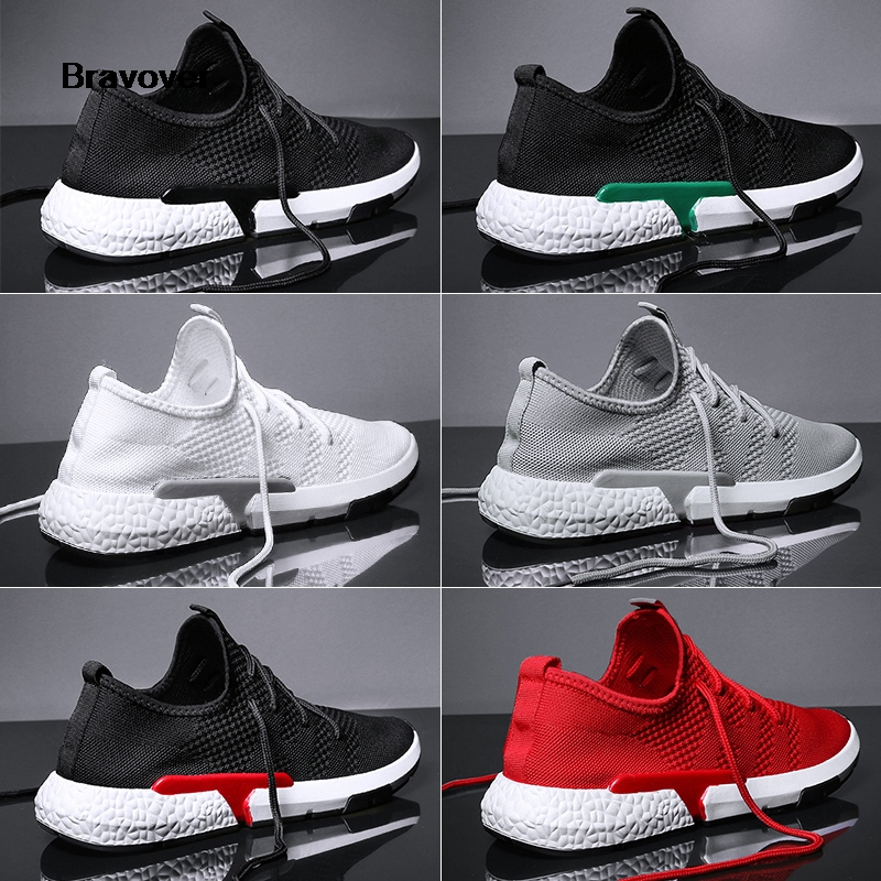Bravover New Breathable Outdoor Running Shoes Lace up Mens Mesh Shoe Comfortable And Light Colorful Sneakers