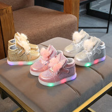 Cute Rabbit Glowing Girls Sneakers Basket Led Children Lighting Shoes 2019 New Arrival illuminated krasovki Luminous Sneaker(China)