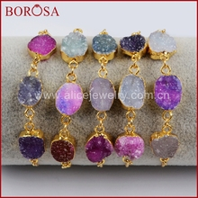 BOROSA 5Pcs NEW Gold Color Multi Druzy New 3 Drusy Gems Stone 7.5inch Adjustable Gold Chain Bracelet for Women Jewelry G1441