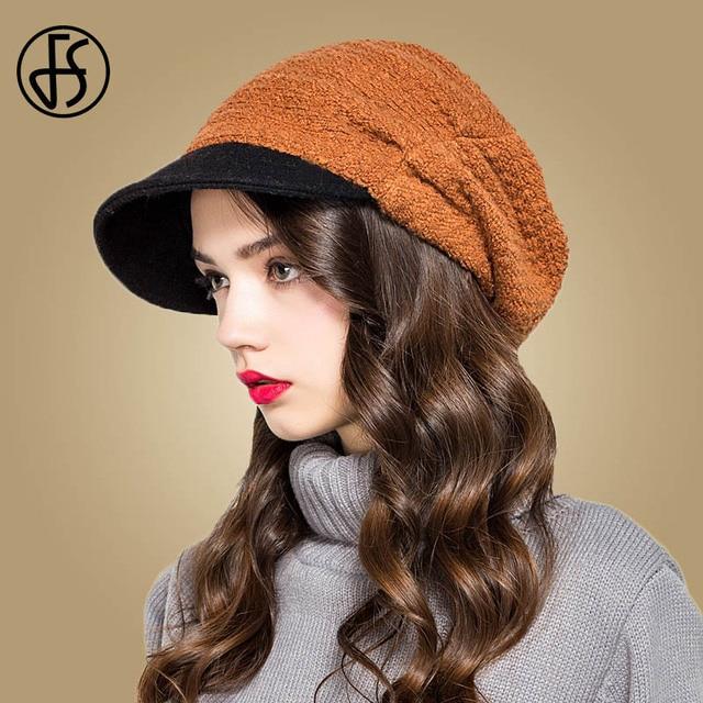 FS Amarelo Elegante Inverno Mulheres Chapéus Fedora de Lã Outono Inverno Feminino  Chapéu Boina Gorros Toucas 7da457bb994