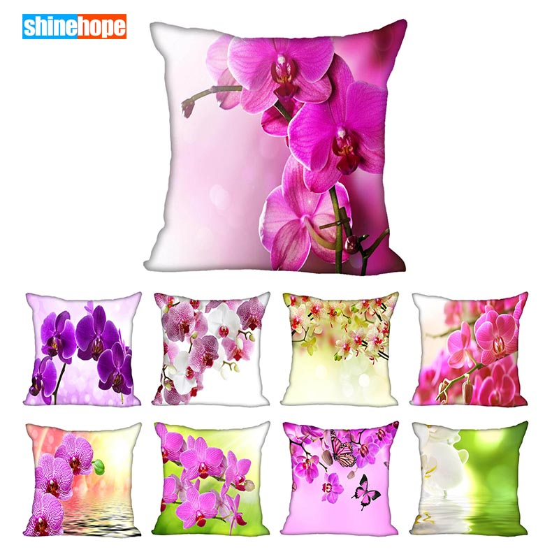 Custom Colour Orchid Flower Square Pillowcase Custom Zippered Pillow Cover Case 40x40,45x45cm(One Side)