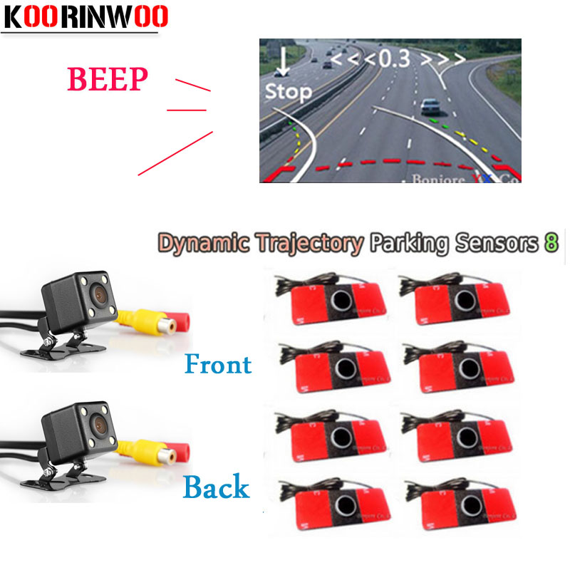 Koorinwoo 2018 Parktronic Parking System Video Dynamic trajectory Car Parking Sensor 8 Radars Car Rear view Camera Front camera car rear view parking video camera ntsc