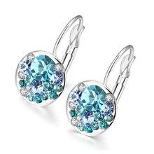 Новые модные круглые очаровательные серьги-гвоздики с чешскими кристаллами женские серьги ювелирных изделий Brinco