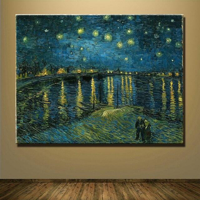 Бесплатная Доставка Знаменитой Картины Звездная Ночь Винсента Ван Гога картина маслом Пейзаж Напечатаны На Холсте wall art