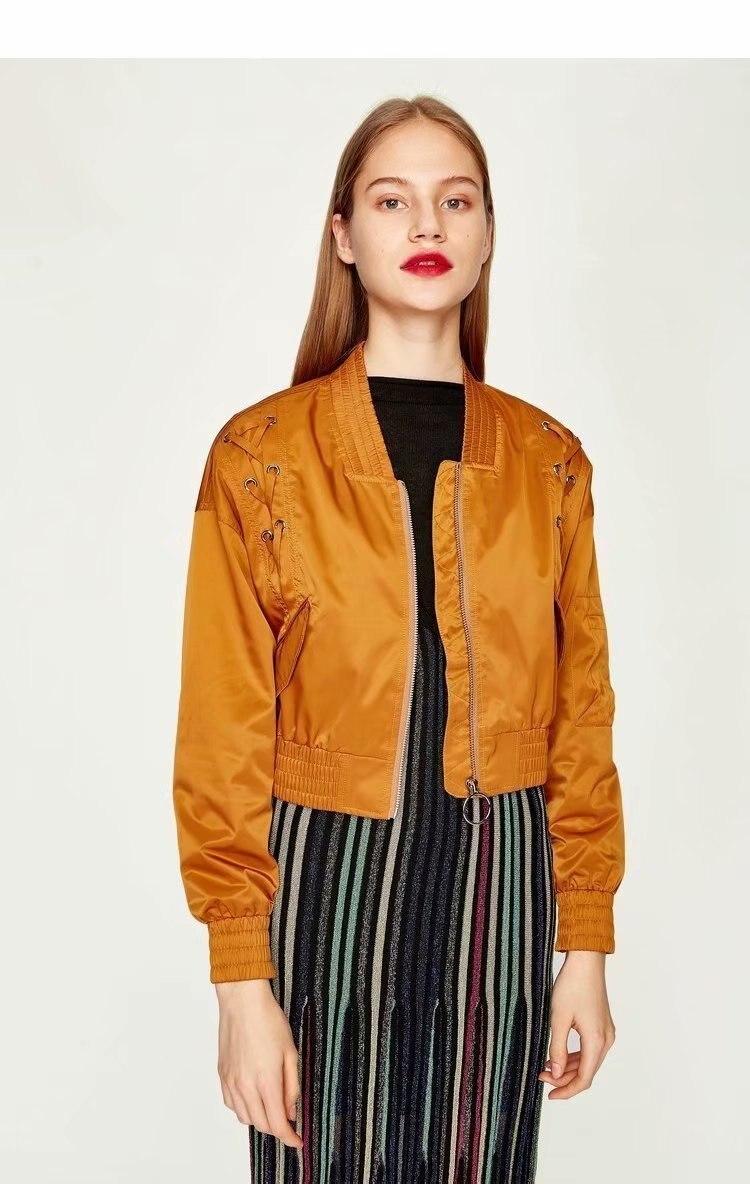 Women Lace Up Details Fashion Cropped Bomber Jacket Coat 2018 New Arrivals