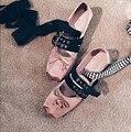Женщины Атласная Мягкая Кожа Пряжка Пояса Бабочка Лук Плоские туфли Женские шнуровкой Бинт Балетки Одеваться Танцевальная Обувь Оксфорды