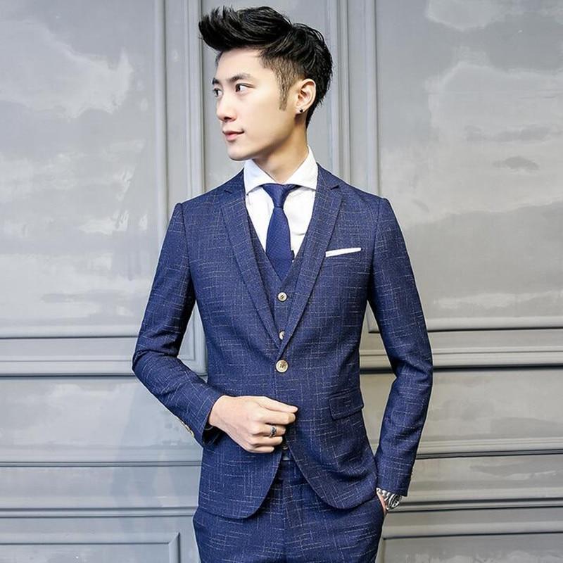 Pièces blue Slim Pantalon Un Coréen Partie veste Costumes Mariage Hommes Costume Trois Arts Et Formelle gary De Black Bouton Artisanat Gilet Mince Fit nS1xAXdqUx