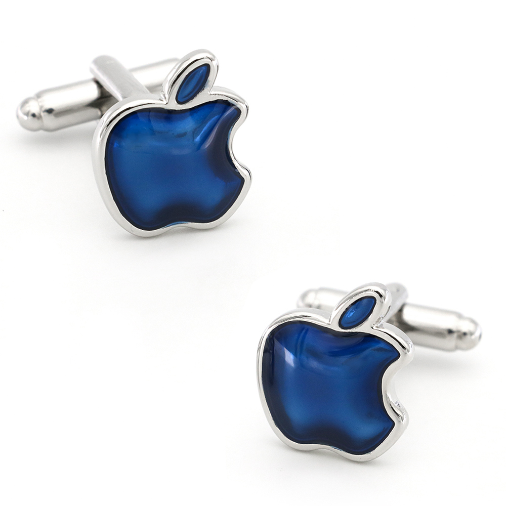 Мужские Запонки Apple, медный материал, синий цвет