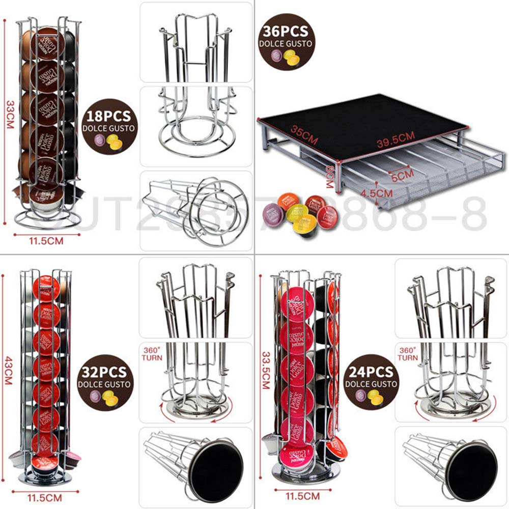 Storage Dolce Gusto Nespresso Capsule Holder Stainless Steel Display Capsule Rack Stand Kitchen Table Metal Shelf Free Shipping