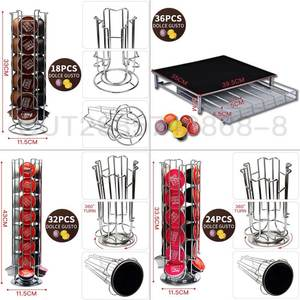 Capsule-Holder Display Storage Metal-Shelf Nespresso Kitchen-Table Dolce Gusto Stainless-Steel