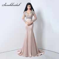 Long Sleeves Evening Dresses Mermaid V Neck 2018 2 Colors Beading Appliques Women Prom Gowns Nude robe de soiree YLN004