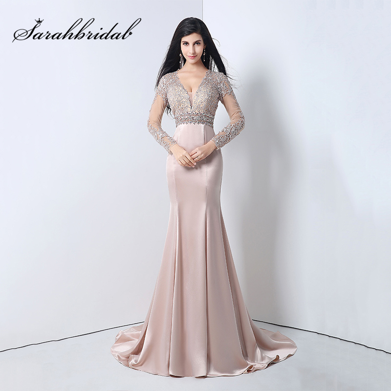 Long Sleeves   Evening     Dresses   Mermaid V-Neck 2018 2 Colors Beading Appliques Women Prom Gowns Nude robe de soiree YLN004