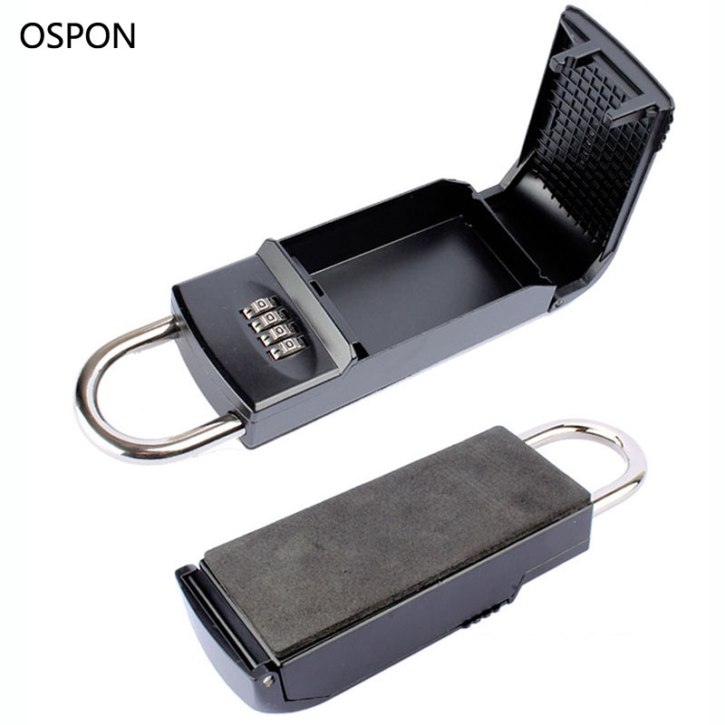 OSPON Key Safe Box 4-digital Password Padlock Keys Storage Organizer Box Hook Security Equipment For Outdoor Home Office Use