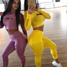 Fashion Women Yoga Casual Sport Set  Mesh Stitching Pants Clothing Suit Mujer Fitness Running 2 PC Hollow Out Workout Wear