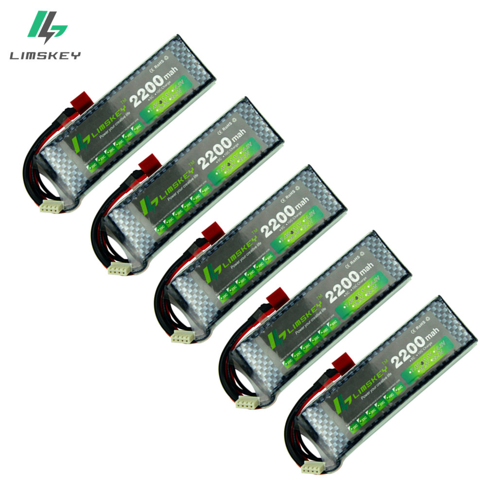 Limskey Power Brand New 3s Bettery 11.1V 2200mAh 25C MAX 35C T/xt60 Plug for Car Airplane Halicopter Part 5PCS/LOT free shipping