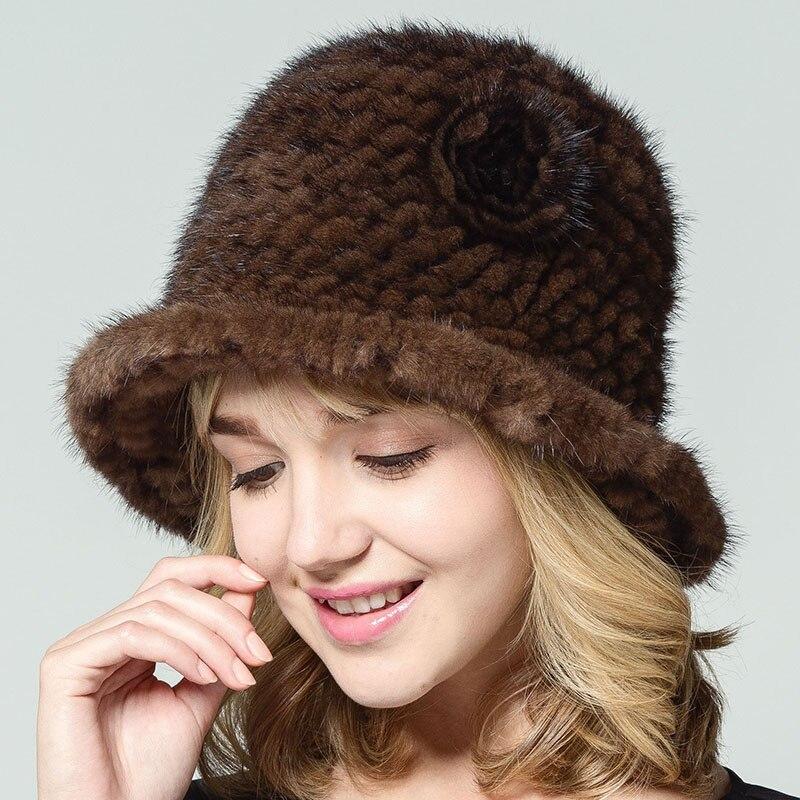Ženy skutečné Mink kožešinové čepice s květinou pevné ruské styl přírodní pletené okraje 2017 nové zimní ženské tlusté teplé teplé pokrývky hlavy