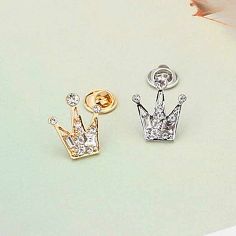 Fashion Luxury Rhinestone Mini small Imperial Crown Brooches Crystal Brooches Pins Denim Bag Pin Badge Jewelry for girls boys