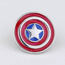 Super Hero Captain America Shield Bros Avengers Round Merah Enamel Lencana Fashion Bros Pin untuk Para Penggemar(China)
