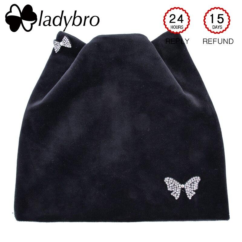 Ladybro Bow-Knot Shine Winter Hat Warm Cat Ear   Beanies   Hat Women Rhinestones   Beanie   Hats Femlae Velvet   Skullies     Beanies   Femme