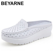 BEYARNE Summer Cow Leather Casual Woman Sandals Handmade Soft Wedges Shoes Closed Toe Non Slip Breathable Sandals