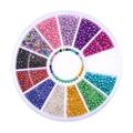 12 Цветов/Box 1.2 мм Красочные Смола Бисера 3D Ногтей Украшения Маникюр Nail Art Украшение