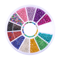 12 Colors/Box 1.2mm Colorful Resin Bead 3D Nail Decoration Manicure Nail Art Decoration