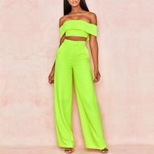 Solid color Slash neck two-piece suit African women's fashion suit Unique design simple sexy milk silk fabric is flexible summer