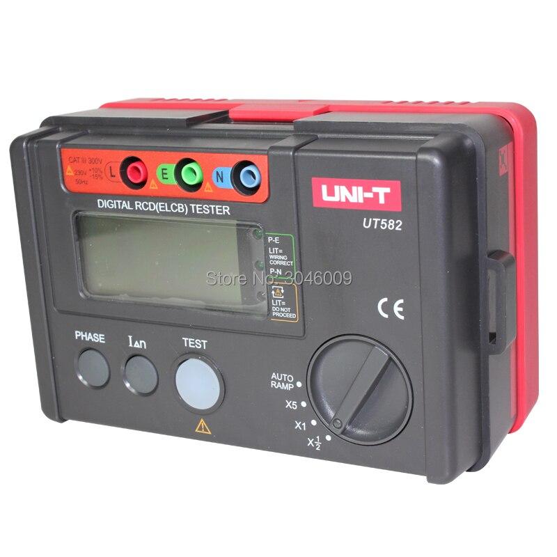 Testeur de commutateur de protection contre les fuites UT582 de UNI-T, testeur numérique RCD (ELCB), commutateur de phase numérique, fonction de rampe automatique, invite de mauvaise utilisation - 3