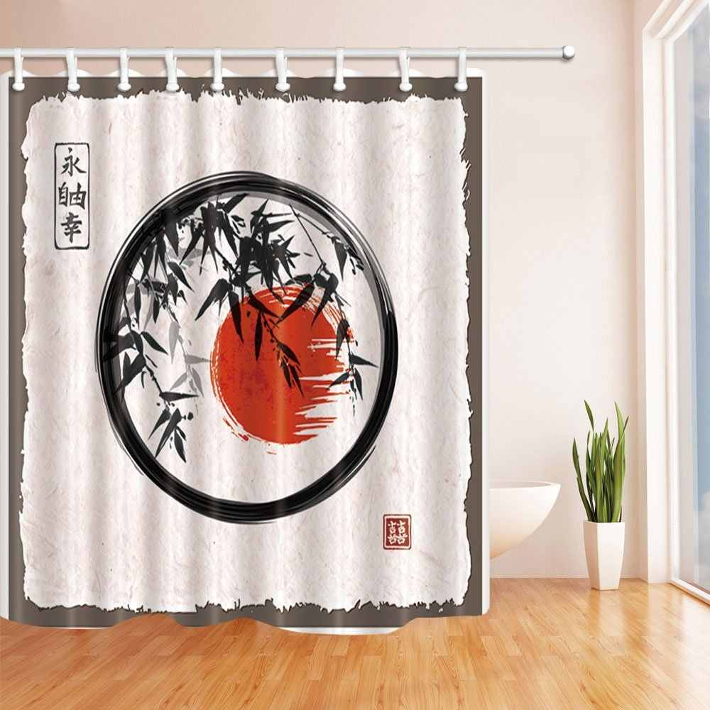 Japanese Painting Bath Curtain Bamboo Trees and Sun in Enso Zen Circle by Ink Polyester Fabric Waterproof Shower Curtain