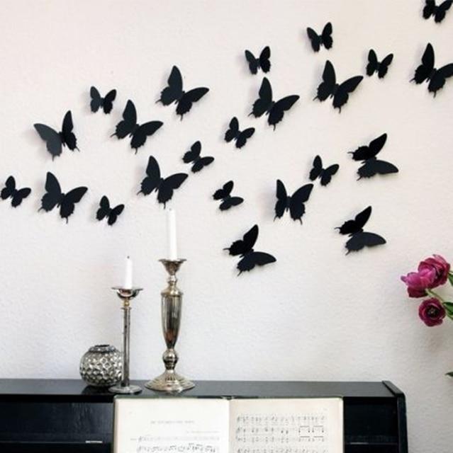12 unids 3d mariposa pegatinas de pared mariposas docors - Mariposas para pared ...
