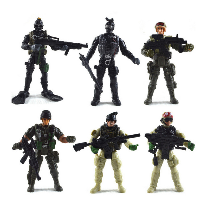 6pcs/set CS Soldier Action Figure Toy PVC Military The Expendables Falcon Commandos Figure Kids Toy Gift